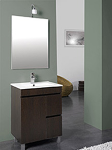 Conjunto de mueble lavabo y espejo para el ba o 60 cm en for Oferta mueble lavabo