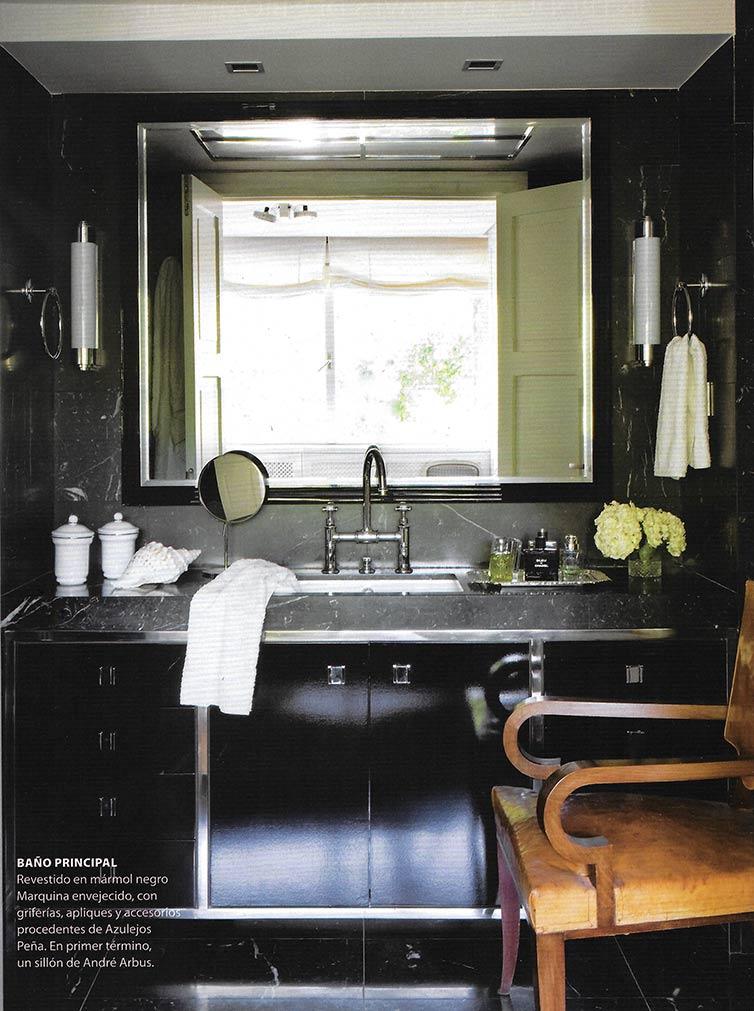 Mármol negro para la sala de baño