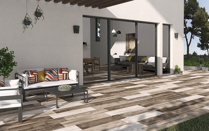 Material cer mico que imita a madera azulejos pe a - Losas de piso exterior ...
