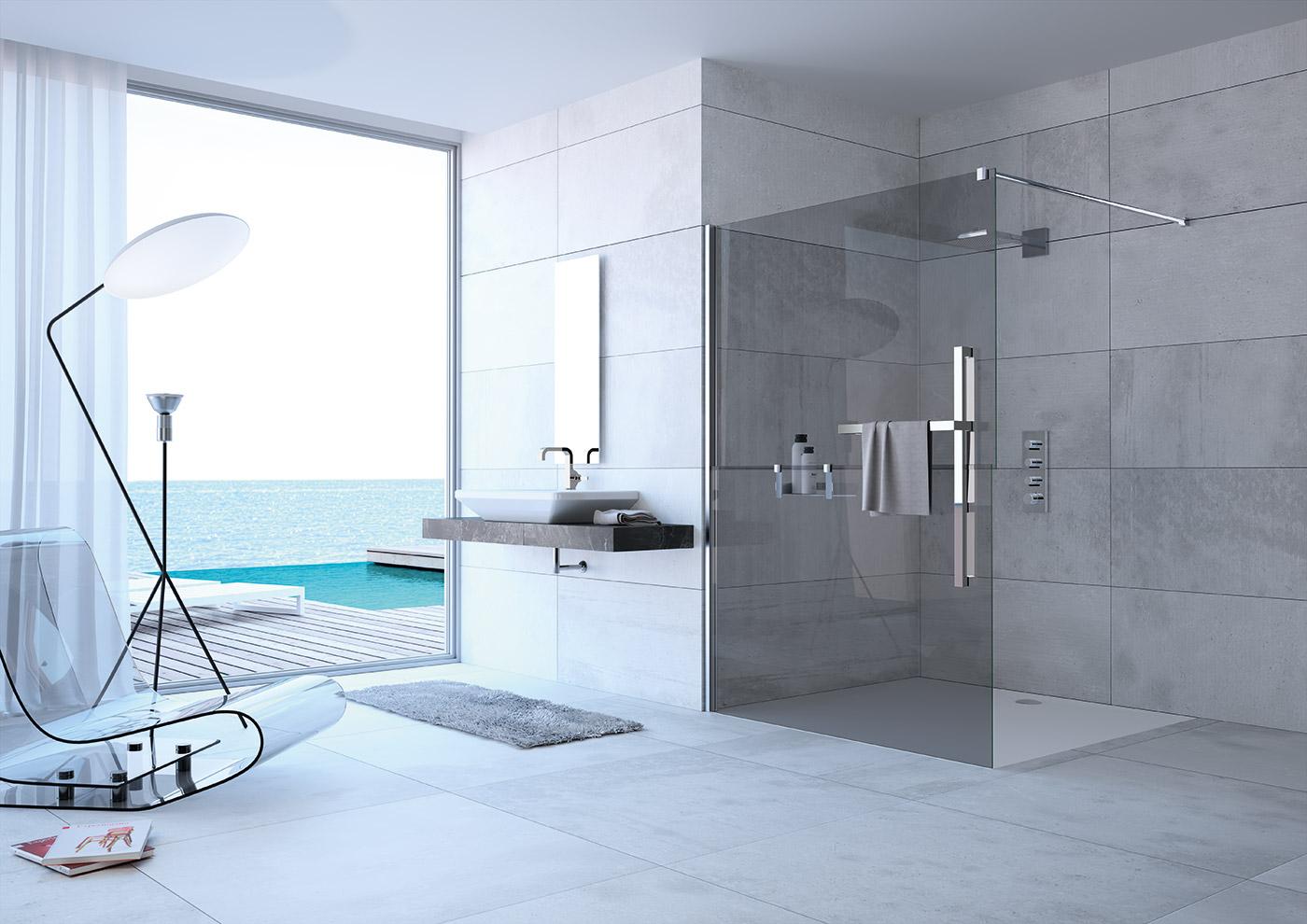 Mampara de ducha con toallero azulejos pe a for Azulejos para duchas