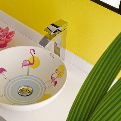 Lavabo porcelana Pink Flamingos