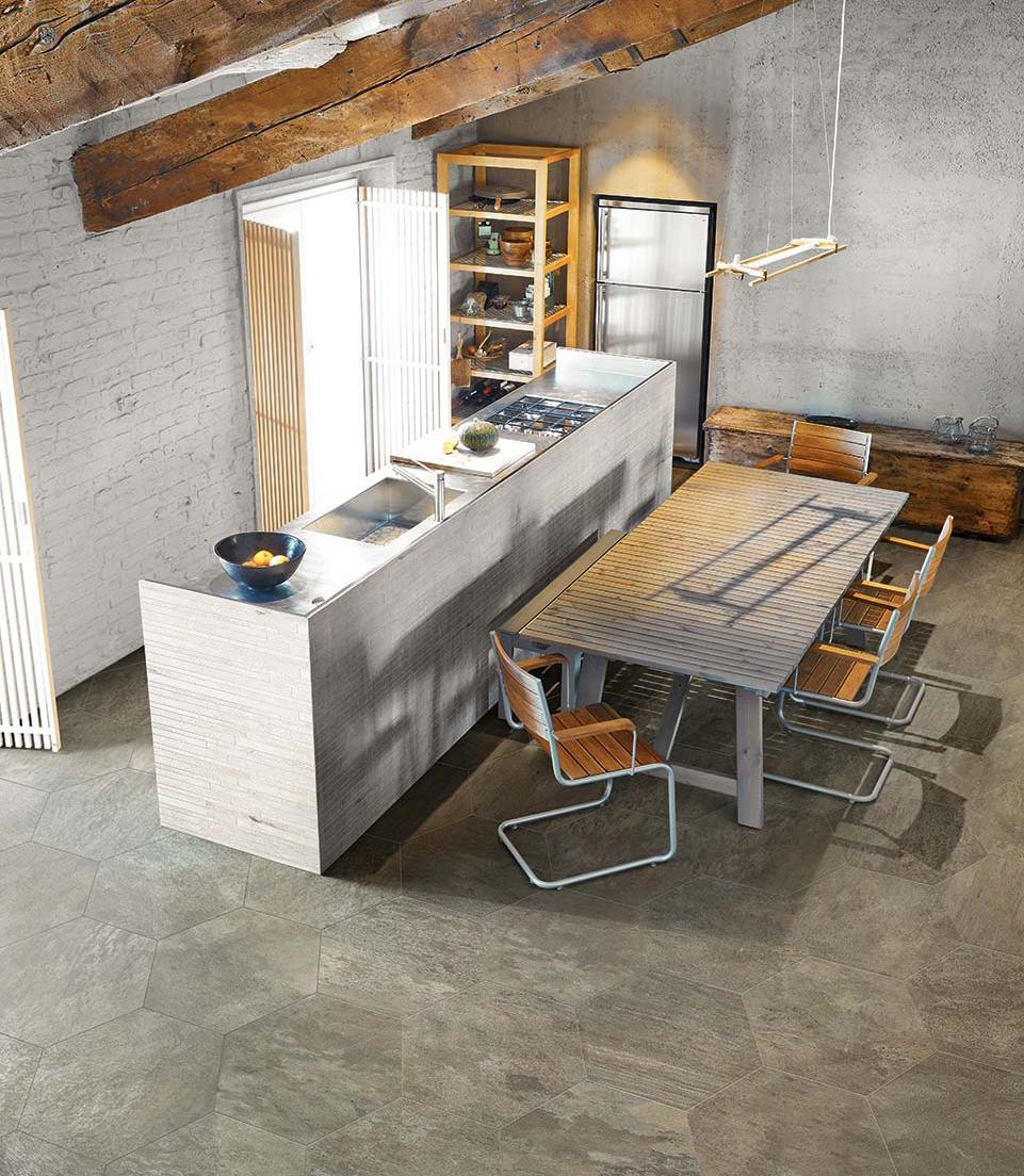 Cambiar el suelo de la cocina creando una superficie nica - Cambiar azulejos cocina ...