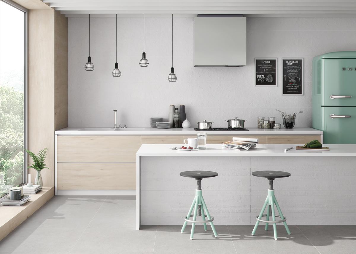 5 revestimientos cer micos para tu cocina azulejos pe a for Pintura cocina pato azul