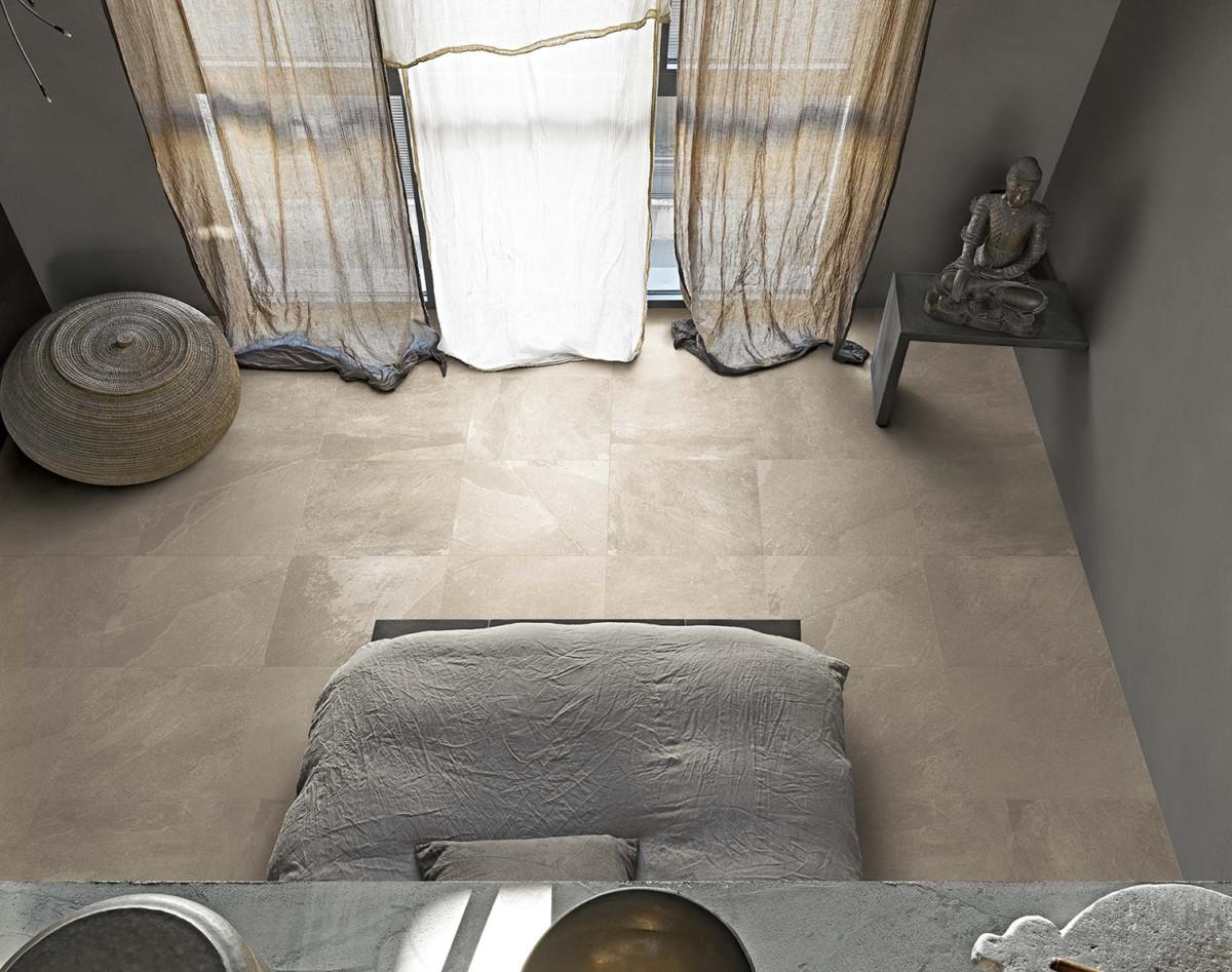 Pavimento de efecto piedra natural en el dormitorio - Pavimento piedra natural ...