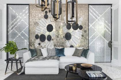 Mosaico laminado de vidrio decorado